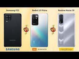 Redmi 10 Prime vs Realme Narzo 30 vs Galaxy F22